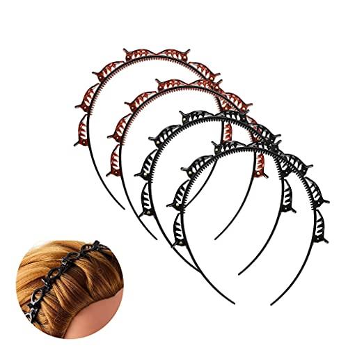 SXDY Diadema de doble flequillo para peinado, diademas trenzadas a la moda, doble flequillo peinado, diadema tejida con clips (4)