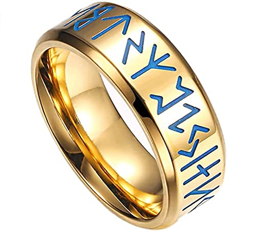GJPSXTY Norse Rune Elder Futhark Pirate Ring Hombres Acero Inoxidable Punk Gothic...