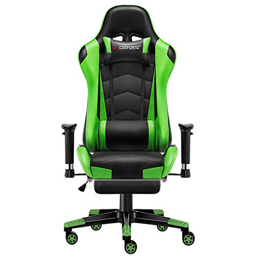 JL Comfurni Gaming Chair Desk Chair with Footrest Ergonomic Racing Computer Chair Gaming Recliner for adults Swivel Chair- Upgraded Version Green