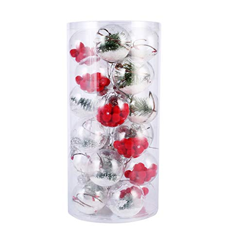 Alonsoo 24pcs Clear Plastic Christmas Ornaments Balls, Shatterproof Plastic Ornaments for Crafts, 4 Different Crafts for Christmas, Wedding, Party, Holiday, Home Decor