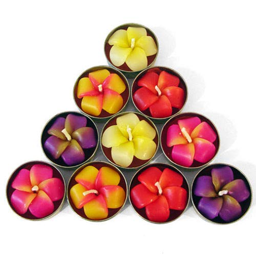Pack of 10 Frangipani Flower Tealights / Candles