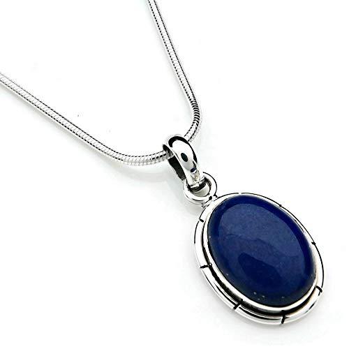 Kette mit Lapis Lazuli Halskette Kettenanhänger 925 Silber blau (60-06 03), Kettenlänge:40 cm