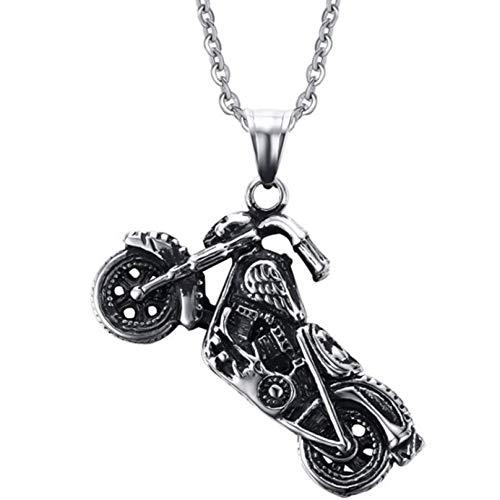 htrdjhrjy Moderno Collar con Acero Inoxidable Moto Colgante con Gótico Colgantes para Hombre - Colgante + Cruz Cadena