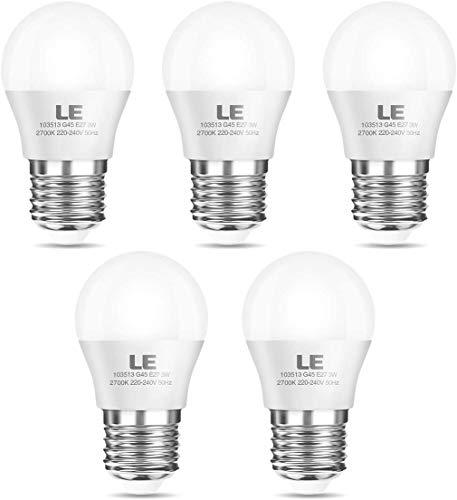 LE E27 LED Lampe, 3W 240 Lumen LED Birne, 2700 Kelvin Warmweiß entspricht 25W Glühlampe, G45 160°Strahlwinkel Leuchtmittel, 5er Pack