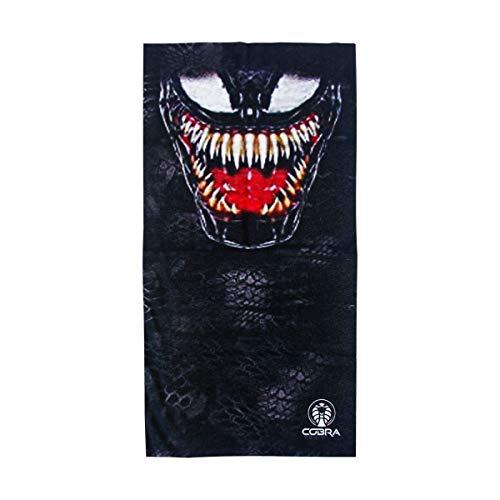 Bandana Venom Negro | Stretch | 140 g/m² de poliéster anti UV | 25 x 50 cm | Pañuelo multifunción impreso I Face Shield de microfibra para moto, bicicleta y esquí (Venom)