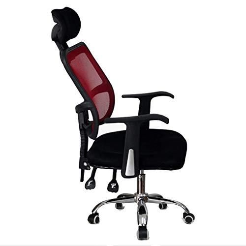 DBGS Bureaustoel, ergonomische computerstoel, grote draaibare zitting, stoel, kantelbaar, conferentie, kruk, eenvoudige en moderne bureaustoel, gaming Rood