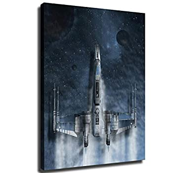 Star Wars poster X-wing starfighter Wallpaper HD Print Canvas Art Living Room Wall Decoration Room mural office decor Hotel mural  16X24inch,Frame