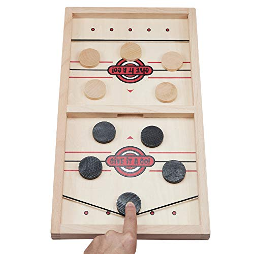 GIVGO Hockey Game Fast Sling Puck Game Slingshot Game Toys Wooden Board Game for Kids Adults and Family Wood Pucks Included
