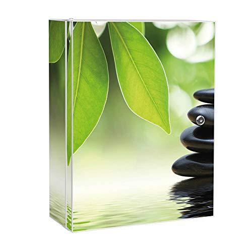 banjado XXL Medizinschrank abschliessbar | großer Arzneischrank 35x46x15cm | Medikamentenschrank aus Metall weiß | Motiv Steine&Relax mit 2 Schlüsseln | Gestaltung auf Front und Seiten