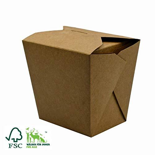 Pack&Cup Bio Asia-Box mit Faltdeckel, Einweg Döner-Box für Fingerfood Kraft Quadrat 700 ml 500 Stück