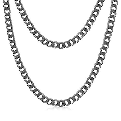 Amberta Collana Placcata Rodio Nero su Argento Sterling 925 per Uomo - Maglia Barbazzale - Spessore 5 mm - Lunghezza 50 cm