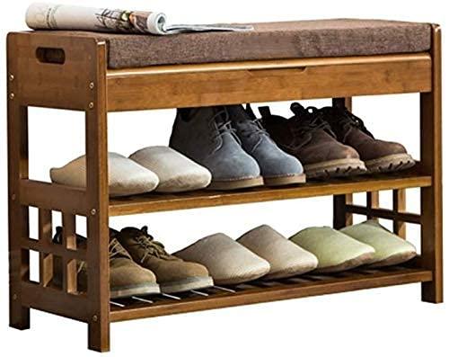 Sgabello per divano, scarpiera per corridoio di casa, panca portascarpe a 2 livelli con cuscino, panca per corridoio in bambù, scarpiera/armadietto per scarpe a prova, sgabello per scarpe in legno, sg