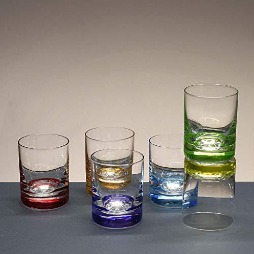 la galaica   Juego 6 Vasos de Cristal para Chupitos de Licor o Whisky - 6 Colores - Colección Classic. Resistentes y Modernos   para Fiestas con Amigos y Establecimientos