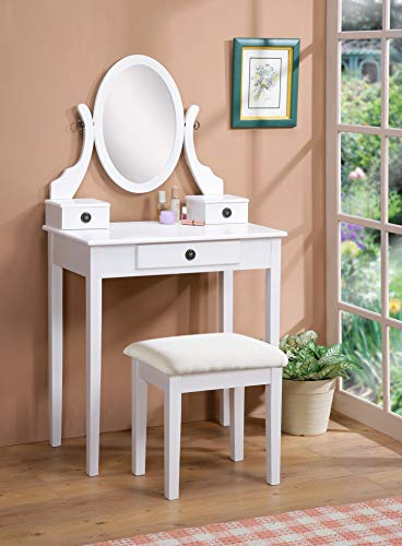 Roundhill Furniture Moniya Wood Makeup Vanity Table and ...