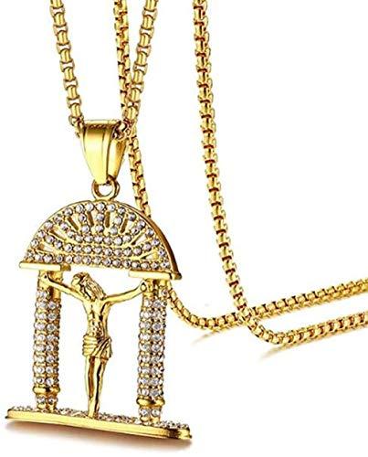 Collar de Acero Inoxidable Hip Hop Jesucristo Collar con Colgante de Diamantes de imitación Oro Dios Jesús Collares de enfermería Joyería con Cadena Rolo de 60Cm
