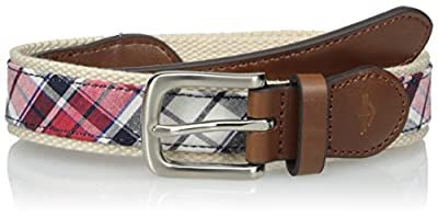 Dockers Boys' Big Casual Plaid Fabric Inlay Belt, Red, Small
