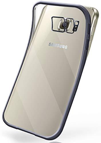 moex Transparente Silikonhülle im Chrome-Style kompatibel mit Samsung Galaxy S6 Edge   Flexibler Schutz mit Hochglanz Metallic Rahmen, Anthrazit