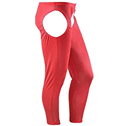 mens sexy long underwear with open crotch red