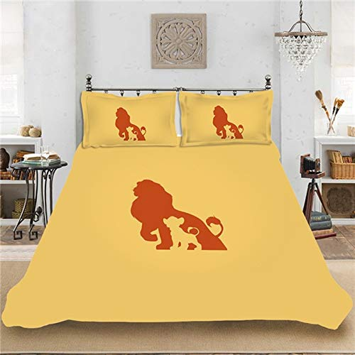 Simba Lion King Bed Linen Set, Children's Duvet Cover, 3 Pieces, 1/2 People, The Lion King Duvet Cover Set, Pillowcase, Microfibre, Cosy, Soft Duvet Cover, Children (A12,200 x 220 + 80 x 80 x 2)