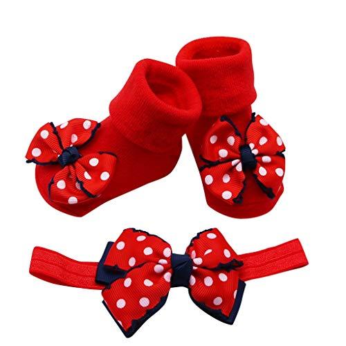 AKAIDE Kinder Mädchen Socken Baumwollmischung + 1 Haargürtel Kleinkind Schleife Wellenmuster Spitze flauschig super weich Anti-Rutsch-Socken Home Baby Baby Gr. One size, rot