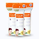 Tulips 50 Round Facial Cotton Pads in a Ziplock Bag (Pack of 3); Made from 100% Pure Soft Cotton, Best for Applying & Removing Makeup, safe for sensitive Skin scar removal product Apr, 2021