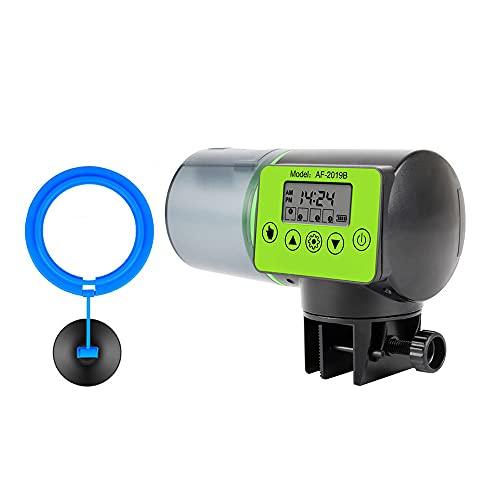 Alimentador automático Inteligente para Peces, Tanque de Acuario eléctrico con Pantalla LCD, alimentador con Temporizador, dispensador de Comida para Peces de Gran Capacidad de 200 ml para pecera