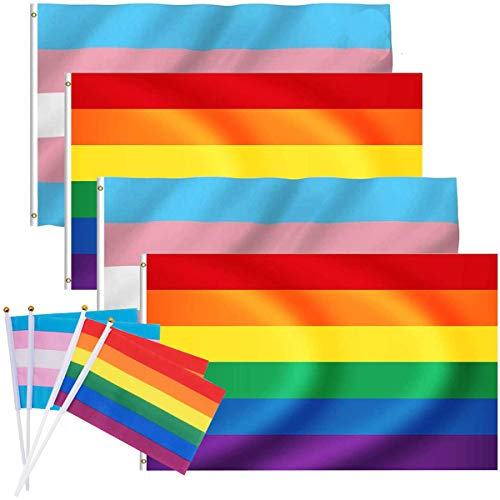 Homosexuell Flagge Fiyuer 8 Stück Regenbogen Flagge Transgender Gay Pride Flagge Festival Banners Rainbow Flag wetterfest Bisexuell Mehrfarbig Dekorationen Zubehör für Karneval regenbogenfahne