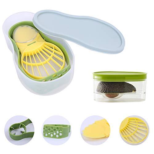 Zdada Avocado-Werkzeug-Set für Küche,5-in-1 Avocado Schneider & Aufbewahr Set,Aufbewahrungsbehälter,Sicherheitsmesser zur Kernentfernung, Schaufel- und Pürierwerkzeug