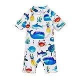Soui BONVERANO Baby Junge EIN stück Kurzärmel-Kleidung UV-Schutz 50+ Badeanzug MIT Einem Reißverschluss (Weißes Tier, 12-18)