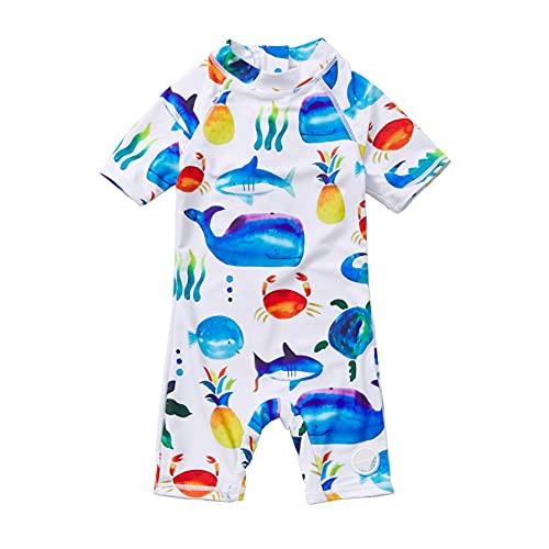 Soui BONVERANO Baby Junge EIN stück Kurzärmel-Kleidung UV-Schutz 50+ Badeanzug MIT Einem Reißverschluss (Weißes Tier, 6-9)