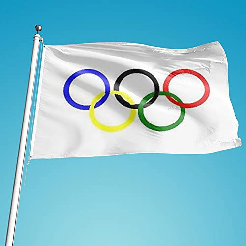 Nicejoy Bandera De Juegos Olímpicos The Olympic Anillos Banner Poliéster Cinco Anillos Equipo Olímpico Banner para Graden Wall Decor 90x150cm