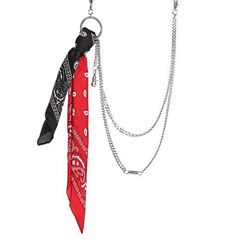 CADITEX Kette für Jeans, Männer Radfahrer Hip Hop Rock Punk Gothic Kugel Gewehr Jeans Hosen Kette Hosenketten Schlüsselkette Gürtelkette (9-Taillen Schal)