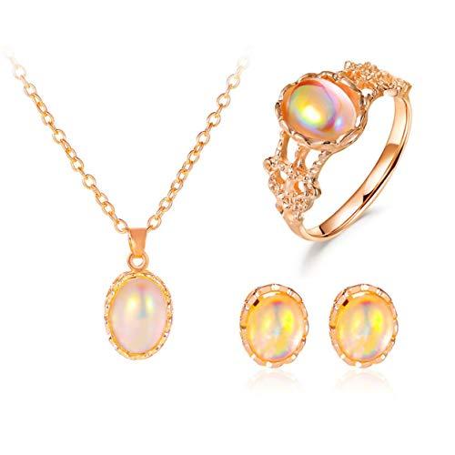 Shenykan 1set Simple Moonstone Anillo Pendientes Collar Conjunto Colgante Personal Collar Retro Mujer Regalo del Día de San Valentín - Oro