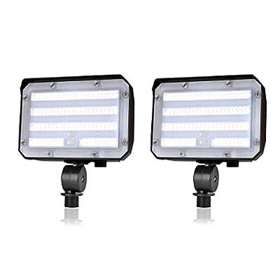 Knuckle Mount LED Flood Light - LED Lights 50W 6000Lm Dusk to Dawn Outdoor LED Flood Lights 5000K 300W MH Equal Outdoor Lighting for Doorways, Pathways, Yard, Landscape, Garden ETL Listed (2 Pack)