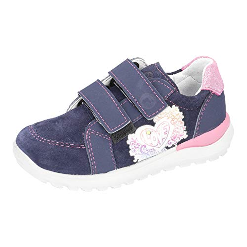 RICOSTA Kinder Low-Top Sneaker Bobbi, Weite: Mittel (WMS), Kinder Maedchen Kinderschuhe toben Spielen verspielt,Nautic/rosada,31 EU / 12 Child UK