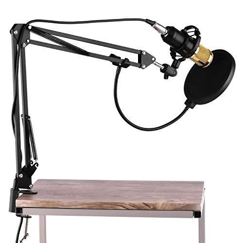 Andoer Micrófono de Condensador Estudio, Micrófono Grabación Ajustable con soporte de choque, brazadera de montaje para Grabar Música y Video Podcast Transmisión en Vivo Juegos Chat
