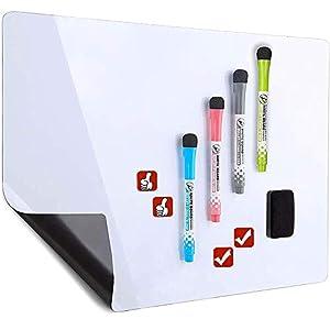 Pizarra blanca magnética de borrado en seco para nevera – Incluye 4 marcadores y 4 iconos magnéticos y un borrador…