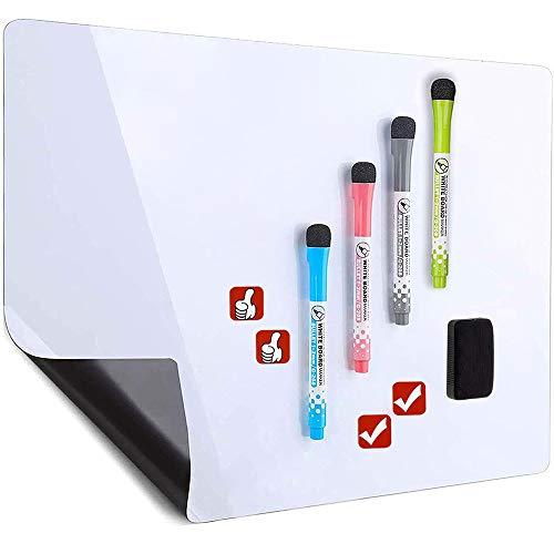 Pizarra blanca magnética de borrado en seco para nevera – Incluye 4 marcadores y 4 iconos magnéticos y un borrador – Planificador de pizarra blanca para refrigerador, color blanco 17x11 inch