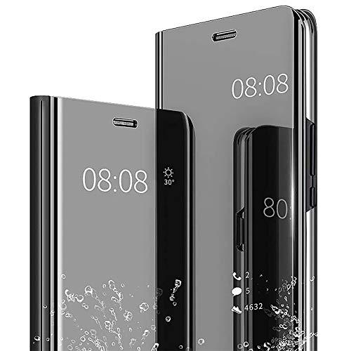TOPOFU Sony Xperia 1 II Hülle,Transparent Flip Spiegel Schutzhülle Kratzfest Stoßfest Handyhülle mit Ständer Funktion Protective Hülle für Sony Xperia 1 II-Schwarz