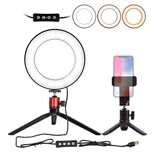 6' Selfie Ring Light with Tripod Stand for Live Stream,Makeup,Nugilla Led Desktop...