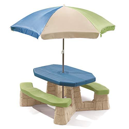 Step2 Naturally Playful Table Picnic Enfant en Vert / Bleu avec Parasol   Banc Pique Nique pour Enfants en Plastique