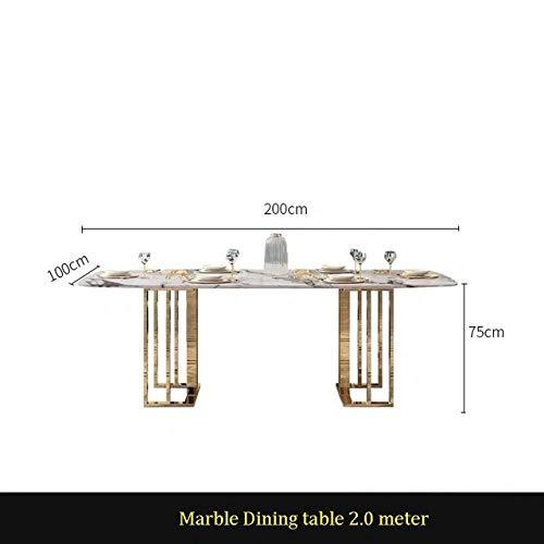 Eettafel LKU Nordic marmeren tafel rechthoekige lichte luxe eettafel designer postmoderne minimalistische vergadertafel, 2.0 meter tafel