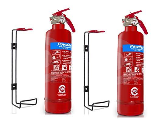 Fire Safety Essentials Lot de 2 extincteurs à poudre sèche ABC Idéal pour les maisons, bateaux, cuisines, bureaux et lieux de travail 1 kg