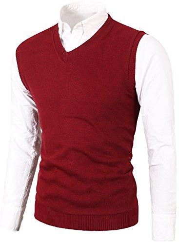 MIEDEON Mens Casual Slim Fit Knit Vest Sweater Wine Red