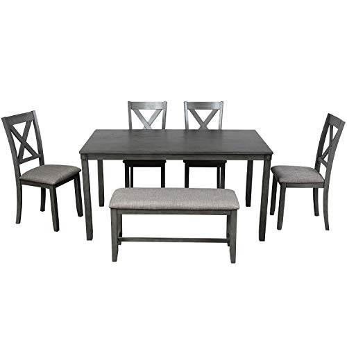 LZ LEISURE ZONE 6 Piece Wooden Dining Table Set with Bench and 4 Dining Chairs, Kitchen Table Set Family Furniture for 6 People (Grey)