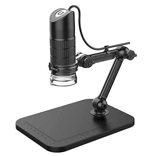 MLQ Portable USB 2.0 Digital Microscope, 8 LED 2 Million Pixels Practic Magnifier with Stand, Compatible with Windows XP/VISTA/8/10, Black