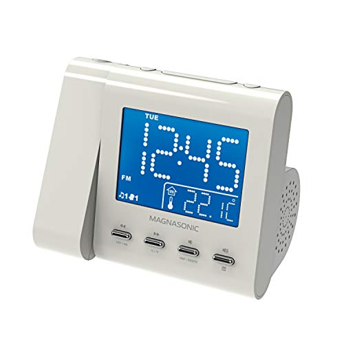Magnasonic Projection Alarm Clock with AM/FM Radio, Battery Backup, Auto Time Set, Dual Alarm, Nap/Sleep Timer, Indoor Temperature/ Date Display with Dimming & 3.5mm Audio Input - White (EAAC601W)