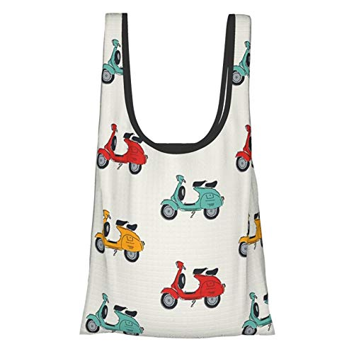 Retro Vespa Reusable Shopping Bags Grocery Tote Bags Foldable Waterproof Reusable Gift Bags, Washable, Durable and Lightweight