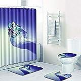 WANJIA Rutschfestes Badezimmer-Set, Duschvorhang + Badematte + U-förmige Badematte + WC-Abdeckung 4 Kombinationen+12 Haken für Duschvorhänge. 50 * 80cm W180806-D016