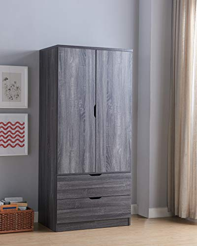 Best Price Imogene Modern Bedroom Furniture Armoire Wardrobe Closet with Drawers (Distressed Grey Co...